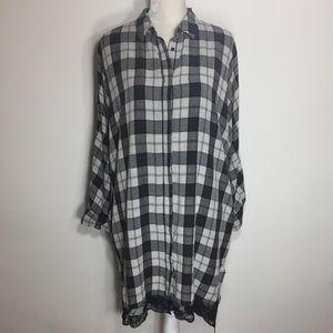 Zara • plaid high low lace button up shirt dress